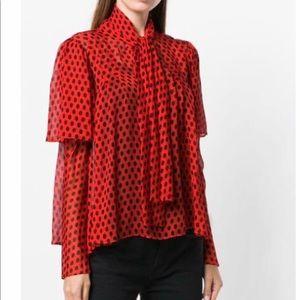 Diane Von Furstenberg 100% silk polka dot blouse